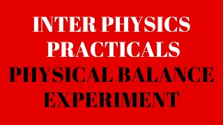 Physics Practical Physical Balance Experiment video