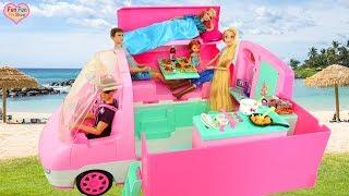 Barbie doll Motorhome Pink Camper Unboxing Review boneka Barbie kafilah merah muda Boneca Caravana