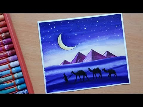 Easy Desert Landscape Scenery Painting with Oil Pastel Step by Step