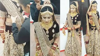 Real bridal double Dupatta setting (step by step)