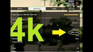 كيف تفعيل خاصية 4k على لعبة gta 5 حتى لو كان كرت شاشتك 1GB