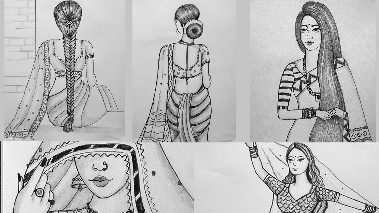 5 Traditional Girls Drawing Collection in 5 minutes || Indian Girl drawing || girl drawing
