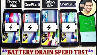 OnePlus 5 vs 3T vs Galaxy S8+ vs iPhone 7 Plus *BATTERY DISCHARGE* Speed Test!