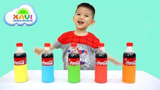 Learn colors with Coca cola mentos experiment at home - Xavi ABCKids