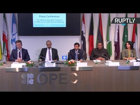 Новак принимает участие в пресс-конференции по итогам встречи министров стран ОПЕК+