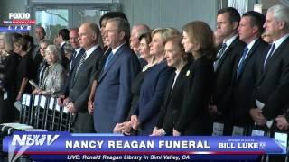 Michelle Obama, George W. and Laura Bush, Hillary Clinton at Nancy Reagan Funeral - FNN