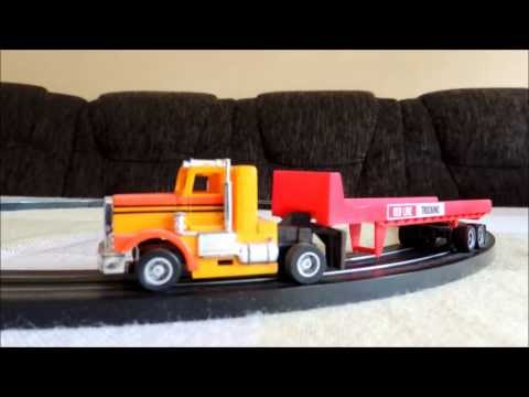 Testing Tyco slot car Trailer Truck, Red Line Trucking