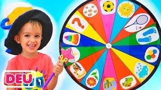 Lustige Kinder spielen mit dem Zauberrad. Video für Kindern von Vlad und Nikita