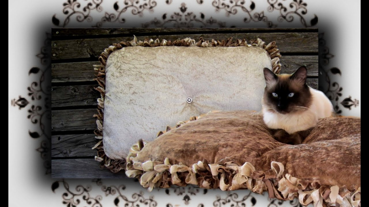 diy knoten kuschelkissen f r katzen hunde handmade no sew cat bed youtube. Black Bedroom Furniture Sets. Home Design Ideas