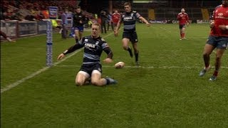 Owen Williams Try from counterattack - Munster v Cardiff Blues 8th February 2014