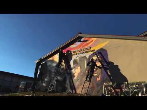 Se graffitikunstner Mikael Noguchi lage Edvard Munch-inspirert street art på Løten ungdomsskole.