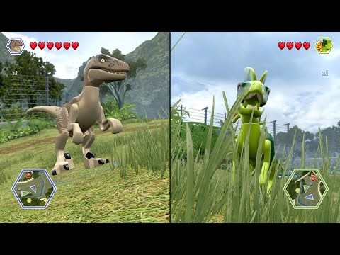 LEGO Jurassic World - Velociraptor vs Dilophosaurus - CoOp Fight | Free Roam Gameplay [HD]: LEGO Jurassic World - Velociraptor vs Dilophosaurus - CoOp Fight | Free Roam Gameplay [HD] ------------------------------------------ Partner with VISO: http://bbtv.go2cloud.org/aff_c?offer_id=24&aff_id=3066 Partner with TGN: http://bbtv.go2cloud.org/aff_c?offer_id=26&aff_id=3066  __________________________________________  PC Specs: CPU: Intel Core i7 4790K Devil's Canyon Motherboard: Gigabyte GA-Z97-D3H Memory: HyperX Fury Black 16GB DDR3 HDD: SSHD SeaGate Desktop 2TB 7200RPM 64MB SATA-III Graphics card: Gigabyte GeForce GTX 980 G1 Gaming 4GB DDR5 256-BiT Power Supply: Antec TruePower Classic 750W Case: SuperFlower SF-2000B Black Operating System: Windows 7 Ultimate Edition Monitor: ASUS VN247H-P 23.6 ------------------------------------------  Game Information: Lego Jurassic World is a 2015 Lego action-adventure video game developed by Traveller's Tales and published by Warner Bros. Interactive Entertainment, for the PlayStation 4, PlayStation 3, PlayStation Vita, Nintendo 3DS, Wii U, Xbox One, Xbox 360, and Microsoft Windows. It adapts the plots of all four Jurassic Park films. The game was released on 12 June 2015 to coincide with Jurassic World? '?s theatrical release. __________________________________________