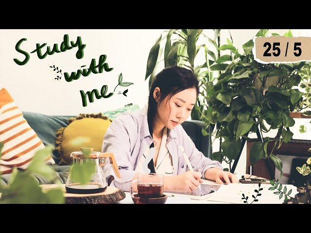 STUDY WITH ME with music    ft. 25-min focus blocks   2 HOURS REAL-TIME POMODORO STUDY SESSION