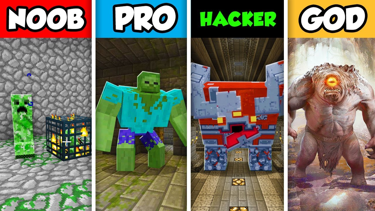 Download Minecraft NOOB vs. PRO vs. HACKER vs GOD: DUNGEON MOB SLAYER  in Minecraft! (Animation)