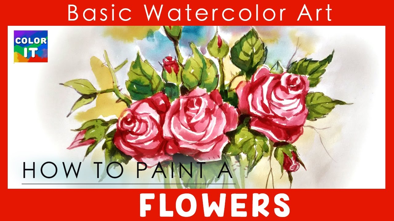 How To Paint A Bouquet Rose Flowers Bunch Easy  How To Draw A Rose Step By  Step For Kids