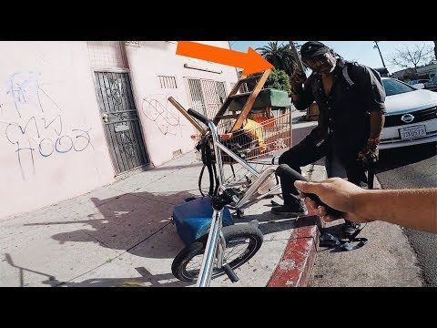 RIDING BMX IN SOUTH CENTRAL GANG ZONES (BMX IN COMPTON)