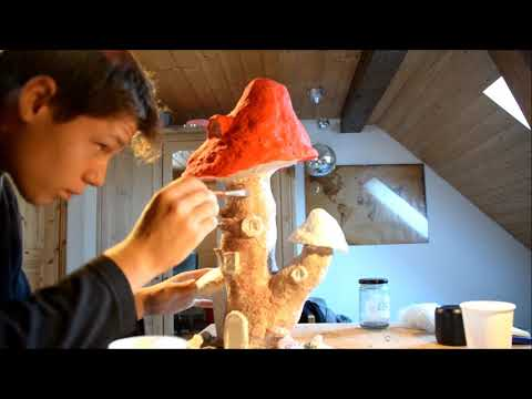 Painting a Papermache Mushroom-House