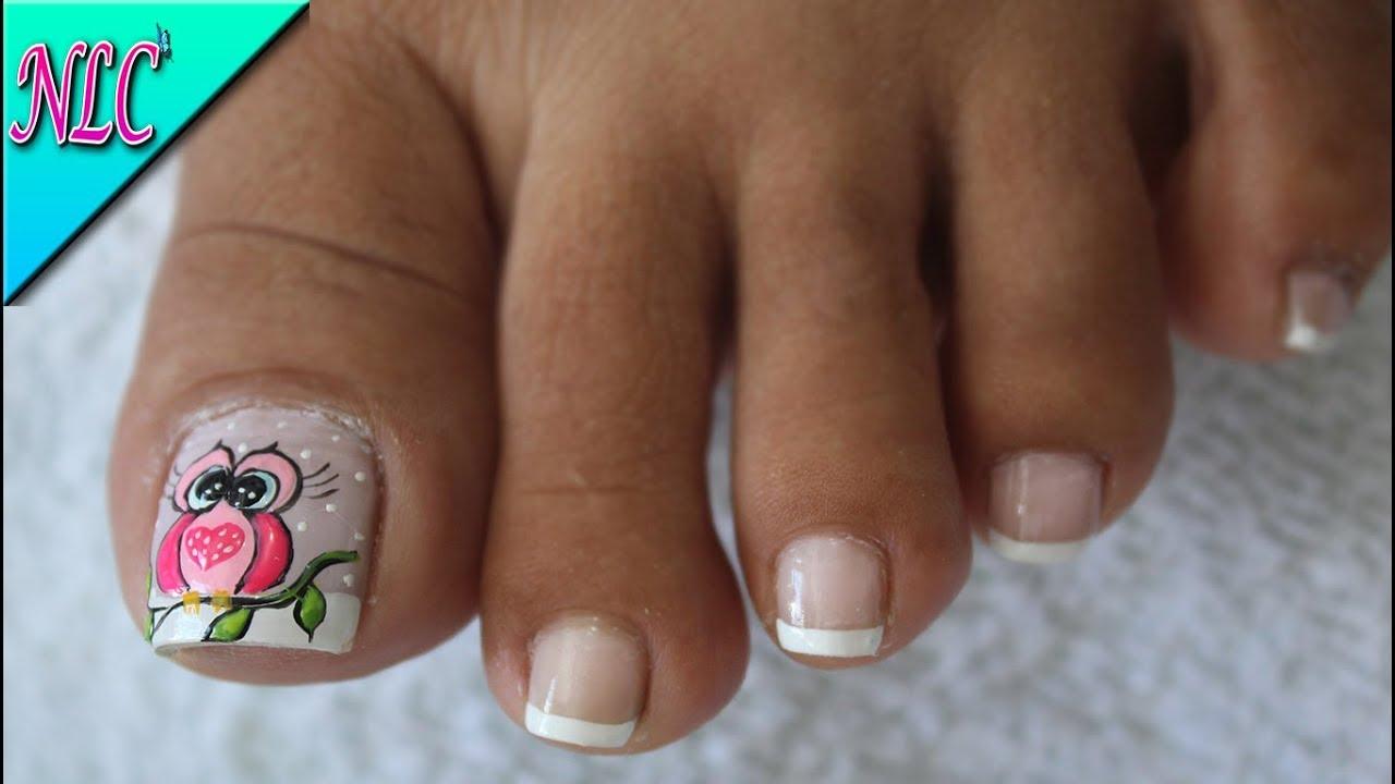 Decoración De Uñas Para Pies Búho Y Francés Owl Nail Art