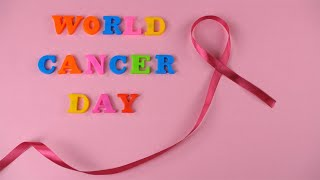 "Top view shot of colorful words ""World Cancer Day"" celebrated on 4th February"