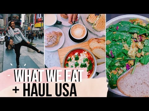 HEALTHY WHAT WE EAT IN A DAY ✨| HAUL NEW YORK & BOSTON (Whole foods, Primark, Target...)