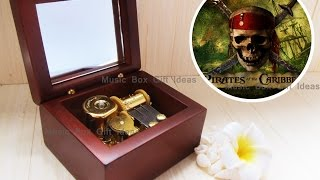 Wooden Wind Up Clorkwork Hurdy Gurdy Sankyo Music Box Pirates Of The Caribbean Davy Jones Locket