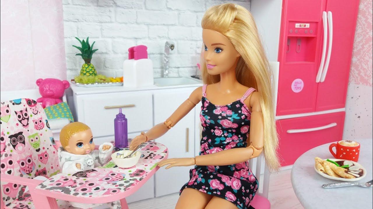Barbie Ken cute Baby Morning Bedroom Bathroom Routine Life in a Barbie Dreamhouse
