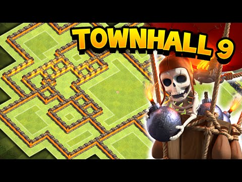 Clash of Clans - EPIC TOWN HALL 9 WAR/TROPHY BASE! TH9 Awesome Defensive Base!!