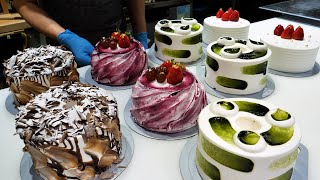 amazing! 4 kinds of old style fresh cream cake making (chocolate, strawberry) - korean street food