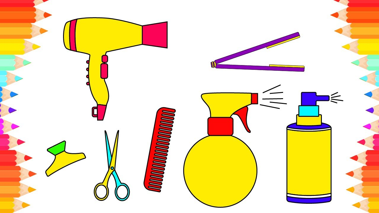 how to draw easy accessories for hair coloring pages set barber