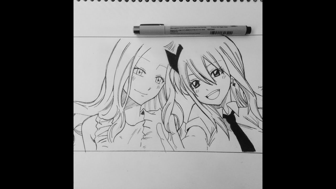 drawing lucy amp mirajane from quotfairy tailquot ������� speed