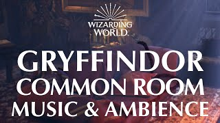 Harry Potter Music & Ambience | Gryffindor Common Room - Peaceful Fireside Relaxation & Rain Storms
