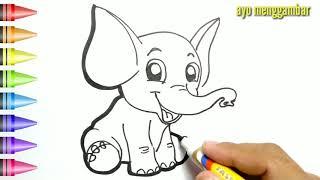 Mudahnya Ayo Belajar Cara Menggambar Anak Gajah Lucu Dan Mewarnai Kartun Untuk Anak Anak Cute766