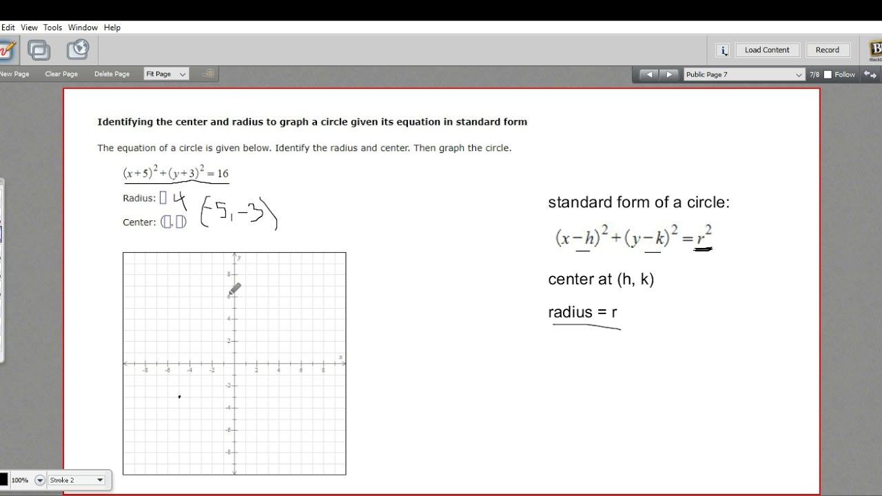 Identifying the center and radius to graph a circle given its identifying the center and radius to graph a circle given its equation in standard form youtube falaconquin
