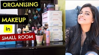 MAKEUP STORAGE IN A SMALL PLACE | Sana K