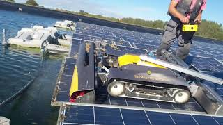 Floating solar panel cleaning with SolarCleano