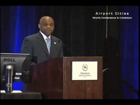 Michael B Hancock, mayor of the City of Denver, gives his keynote address at Airport Cities 2012