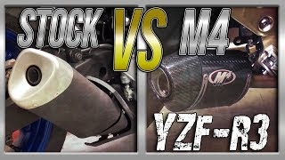15-17 Yamaha YZF-R3 Stock Exhaust vs M4 Street Slayer Slip On Exhaust Sound Comparison