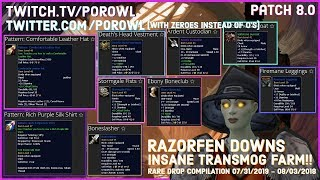 WoW Gold Farm | Razorfen Downs Rare Drop Compilation | Patch 8.0 | INSANE Transmog Farm!