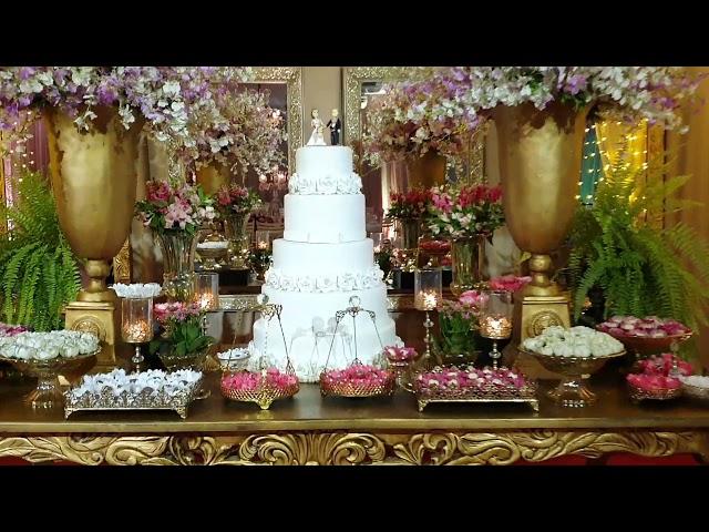 casamento Lidiane e Michel   Creme com Flores rosa escura