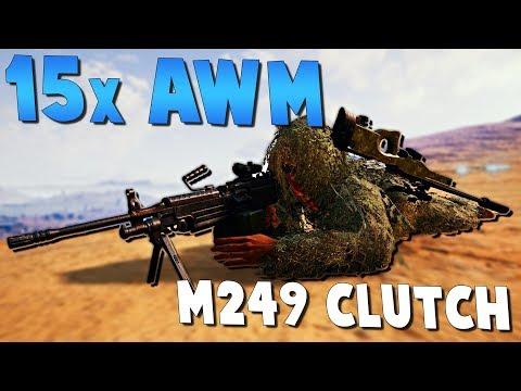 15X AWM + M249 SQUAD CLUTCH! PlayerUnknown's Battlegrounds (PUBG)