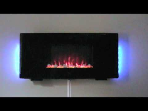 Electric Flat Panel Fireplace Heater Youtube