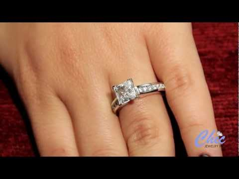 1.5ct A Quality Princess Cut Elegant Engagement Ring