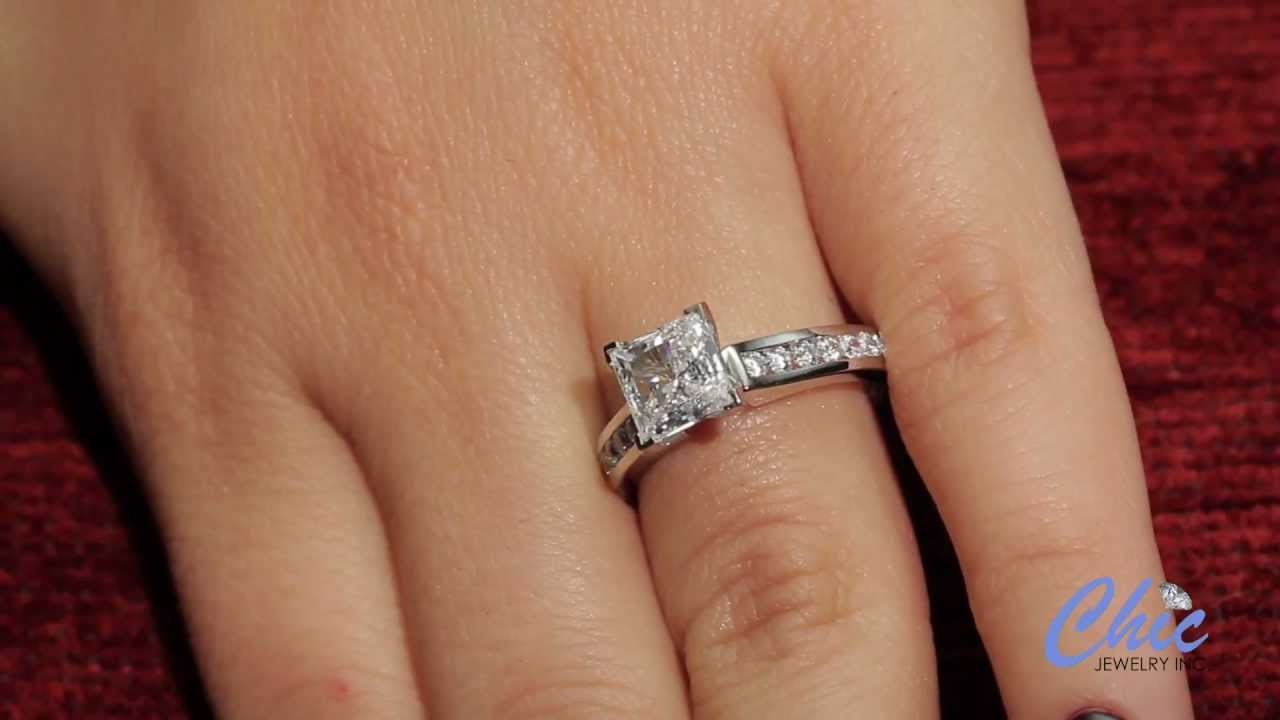 Elegant engagement ring with 1.5ct AAA quality princess cut cz- item 7821e