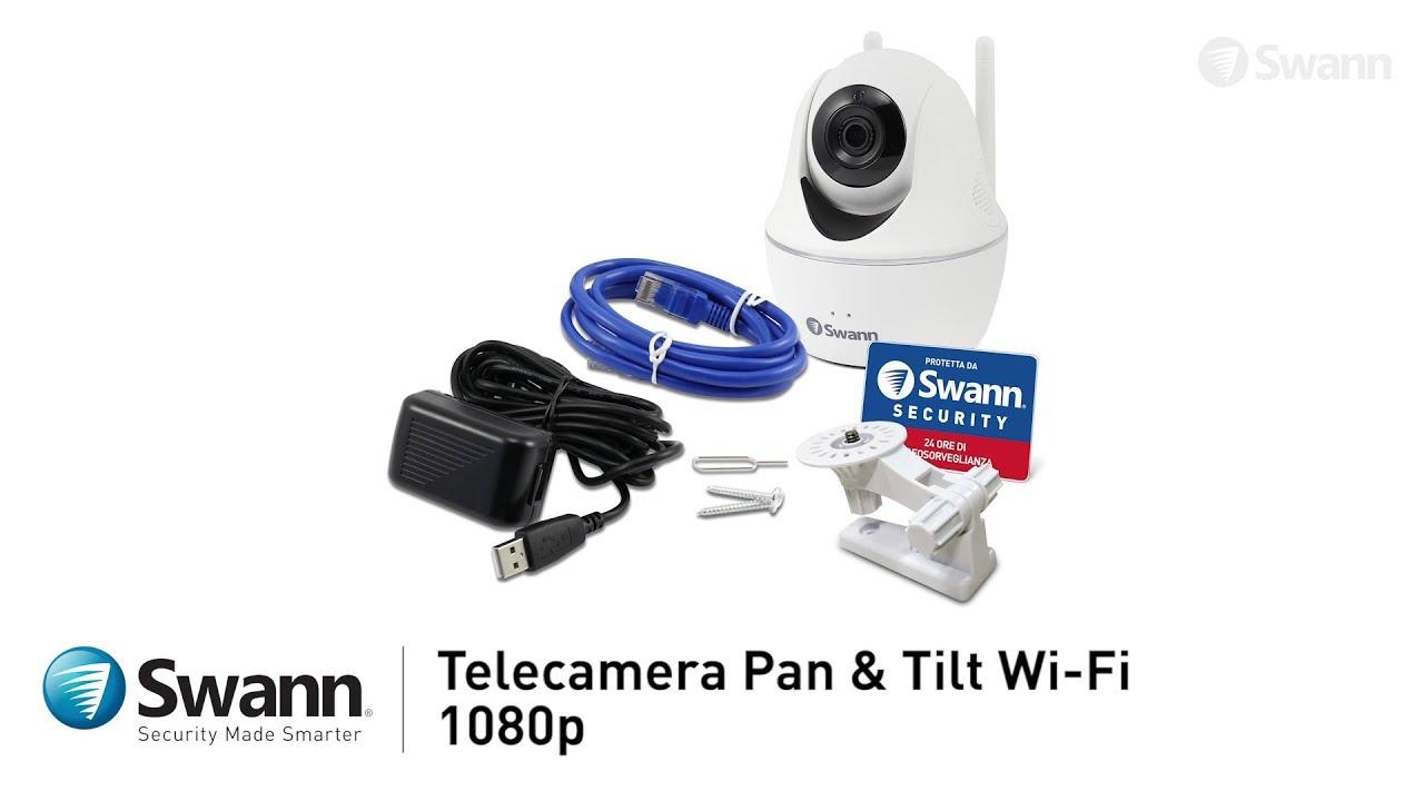 Swann Telecamera di Sorveglianza Pan Tilt WiFi wireless HD 1080p audio  bidirezionale visione notte