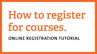How to Register for Courses