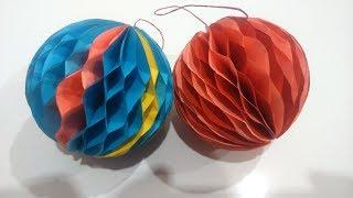 DIY. Шары-соты из цветной бумаги своими руками. Елочные игрушки
