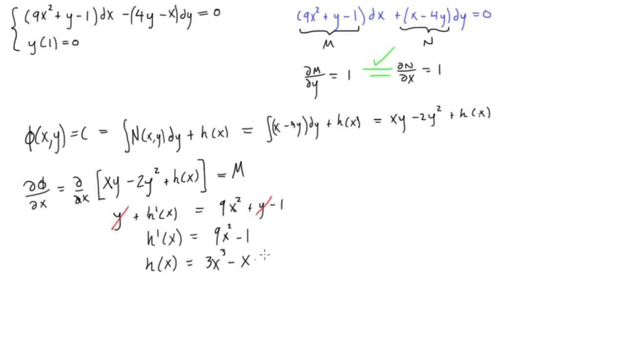 Exact differential equations example #2 - YouTube