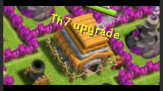 clash of clans upgrading to town hall 7 and buying the barbarian king!