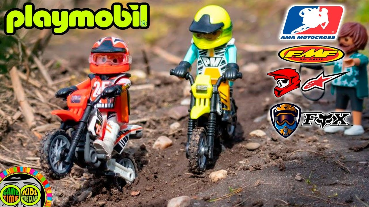 PLAYMOBIL MOTOCROSS motorcycles. Vintage and current retro toy motorcycle  models.