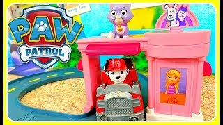 Paw Patrol Toys Video!  Marshall's Pet Rescue Playset For Kids Katie Callie Cat Pet Parlor Track Set